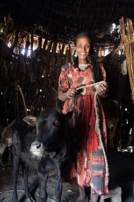 Bizunesh, who was able to make repairs to her home thanks to the income from the cow she received through the Widow's Hope livestock project.